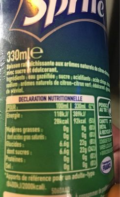 Sprite - Nutrition facts - fr