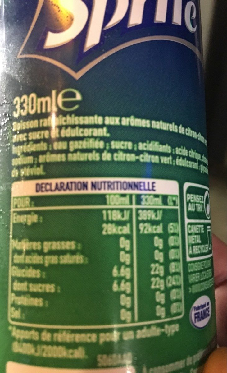 Sprite - Nutrition facts