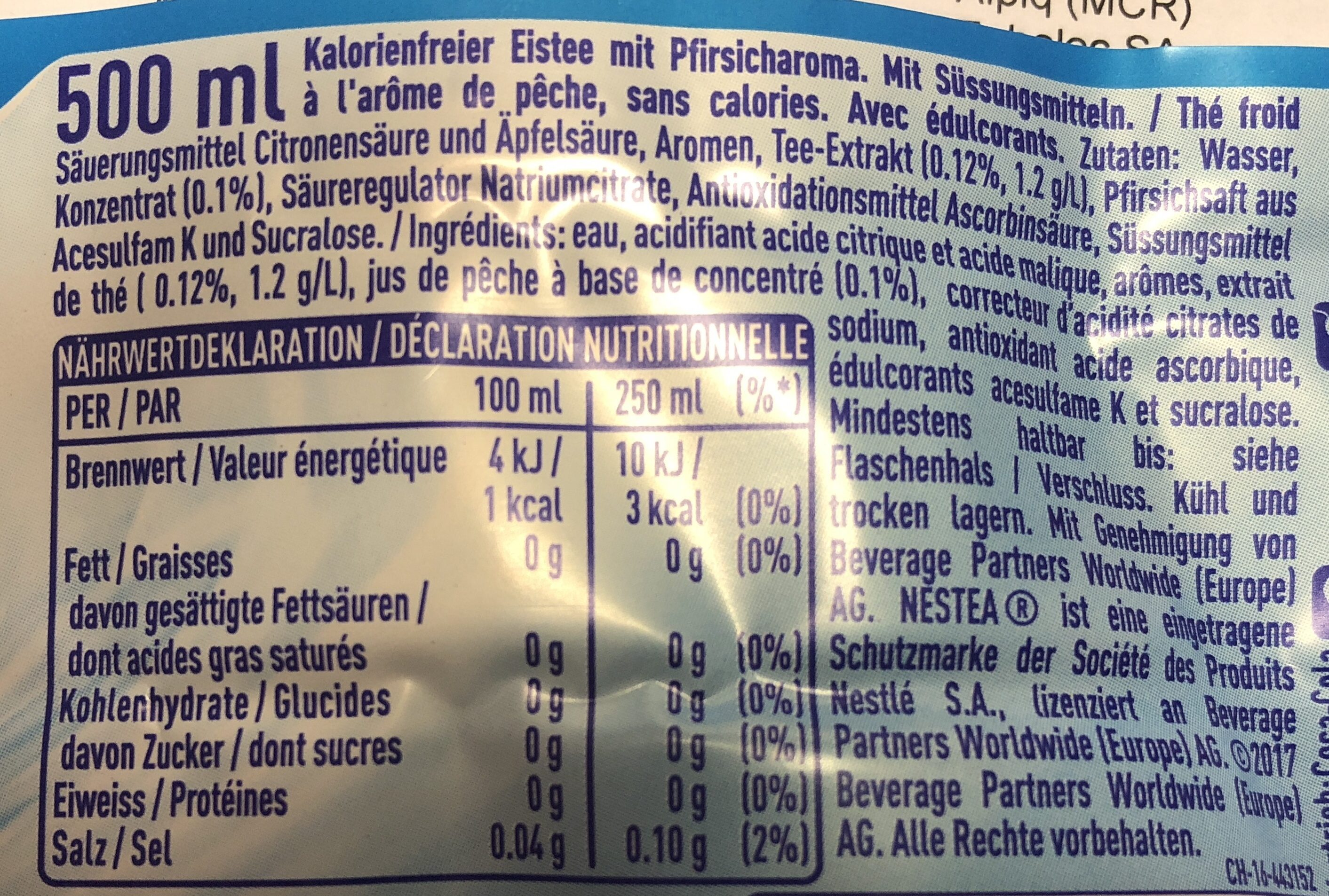 Nestea Peach Zero - Ingredients