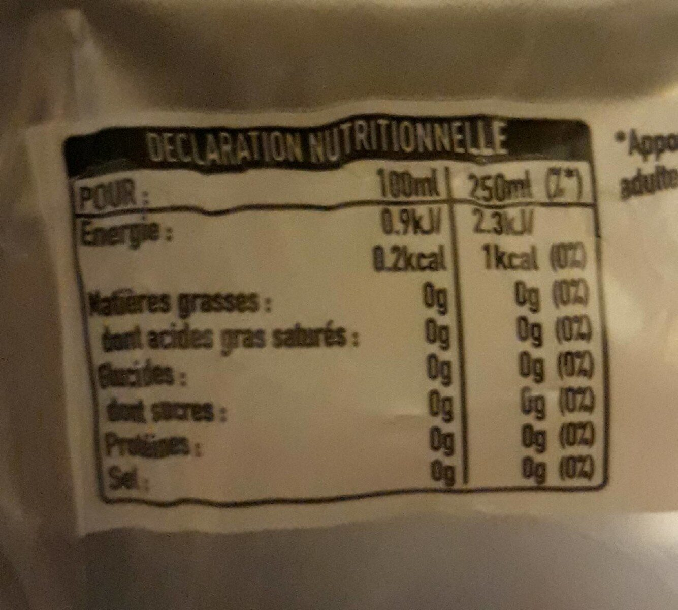 light taste - Informations nutritionnelles - fr
