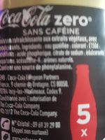 Coca-cola zero sans cafeine - Ingredientes - fr