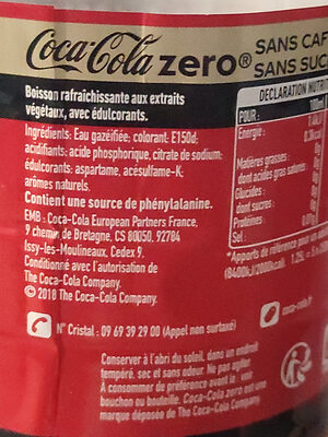 Coca-cola Zéro Sans caféine - Valori nutrizionali - fr