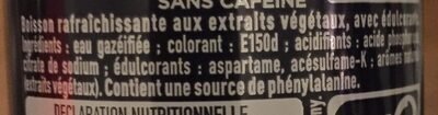 Coca Cola zero decafeine - Ingredienti - fr
