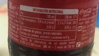 Coca Cola Zero Azúcar - Nutrition facts - es