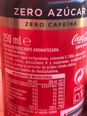 Cocacola zero azúcar zero cafeína - Ingredientes
