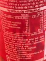 Cocacola zero azúcar zero cafeína - Información nutricional