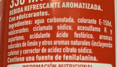 Cocacola zero limon - Ingredients - es