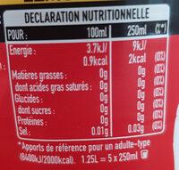 Coca-Cola Lemon sans sucres - Informations nutritionnelles