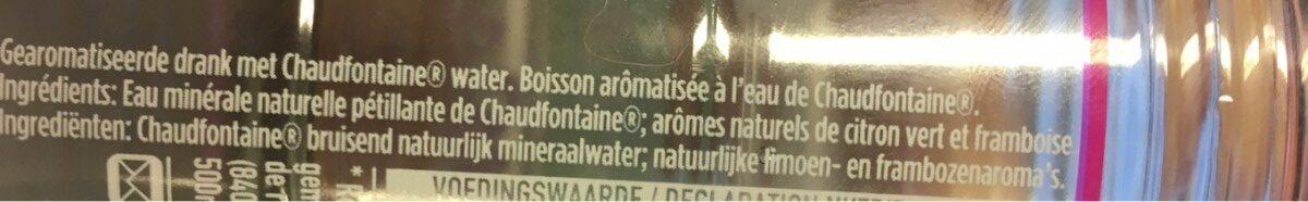Fusion framboise et citron - Ingrédients