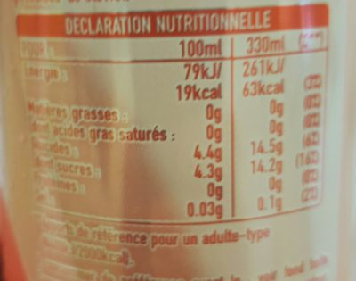 The glacé - Nutrition facts
