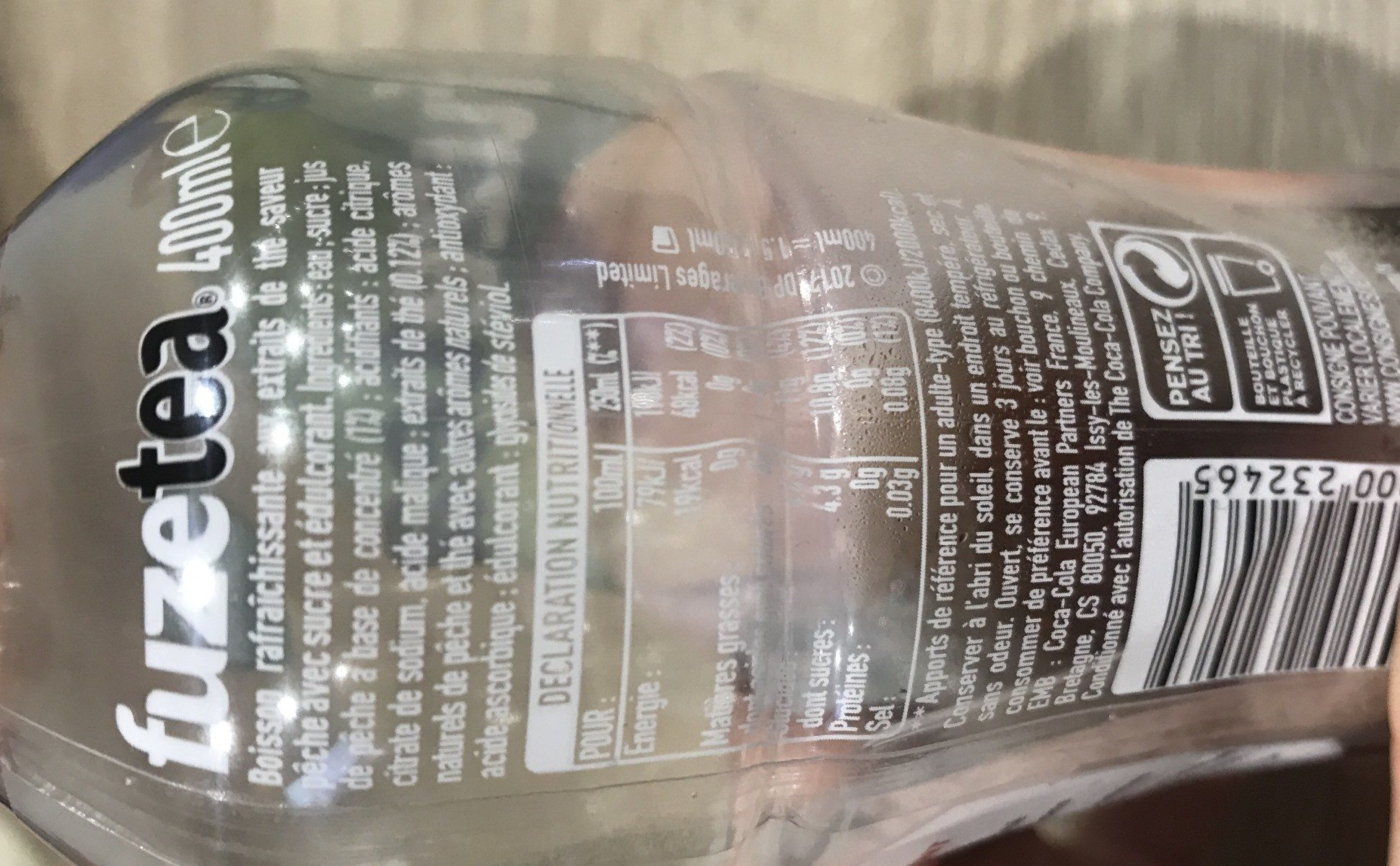 fuze tea pêche intense (thé glacé) - Ingredients