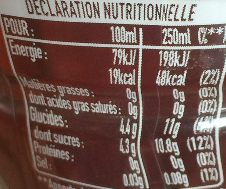 fuze tea pêche intense (thé glacé) - Nutrition facts