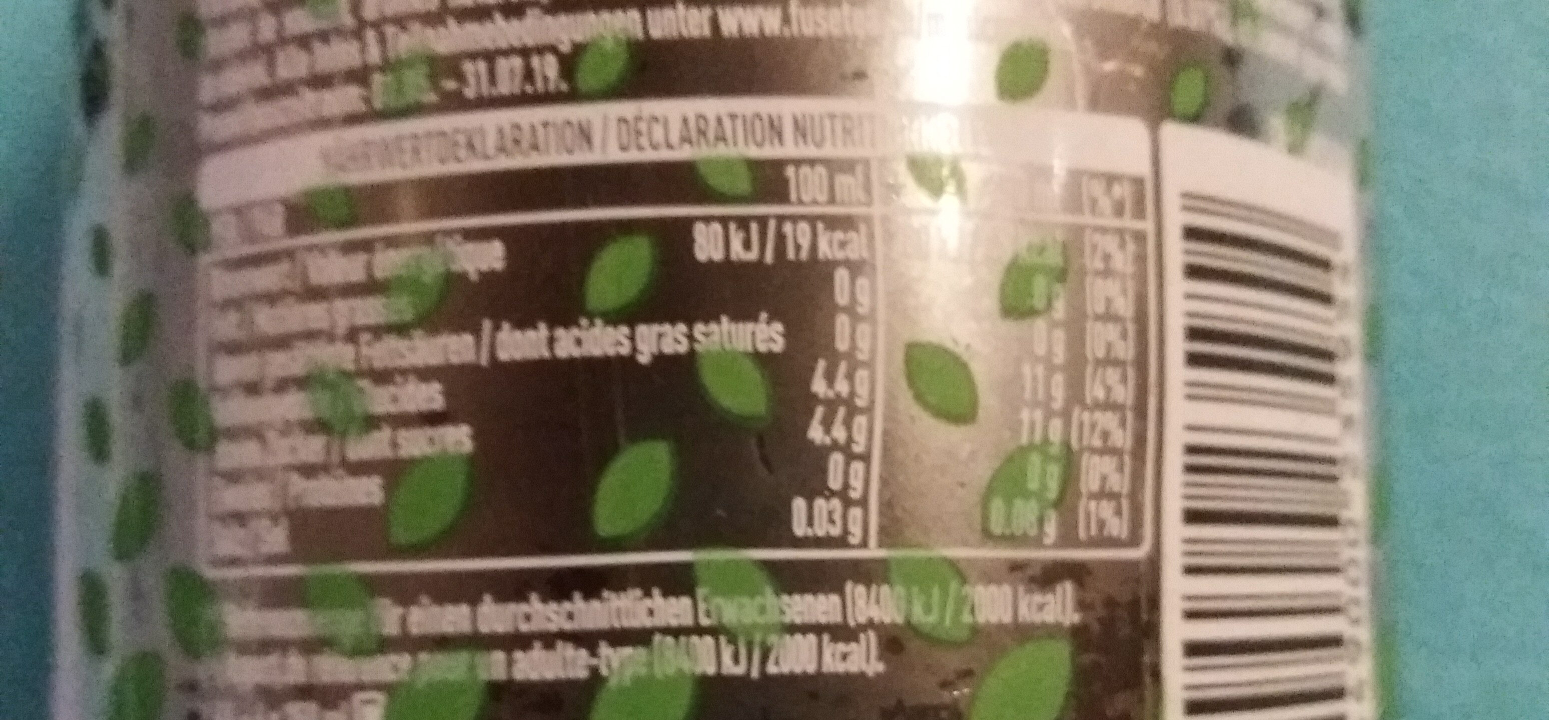 Black ice tea lemon - Voedingswaarden