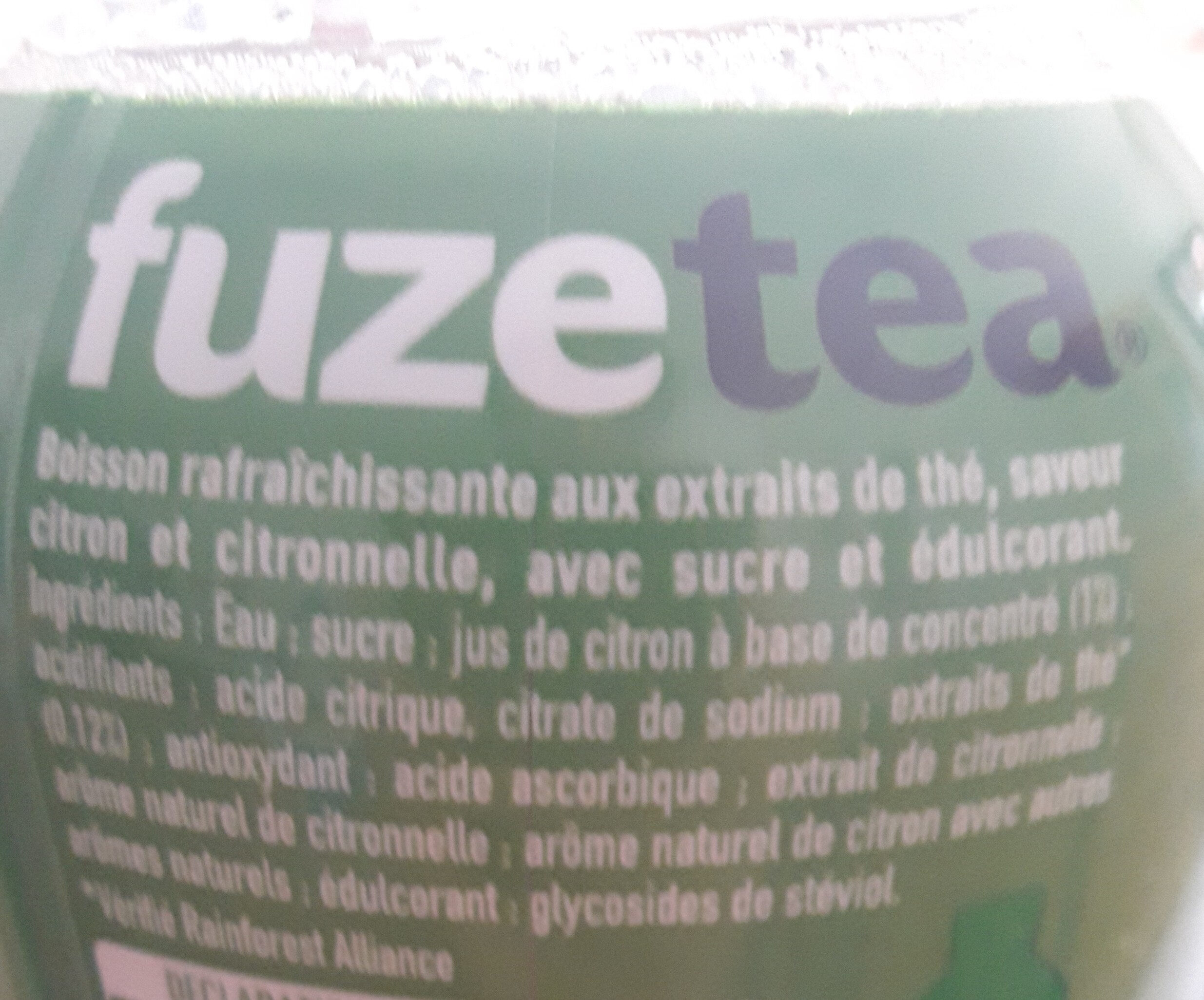 FUZE TEA citron - Ingredients