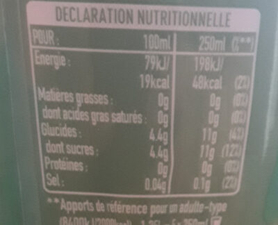 FUZE TEA citron - Nutrition facts