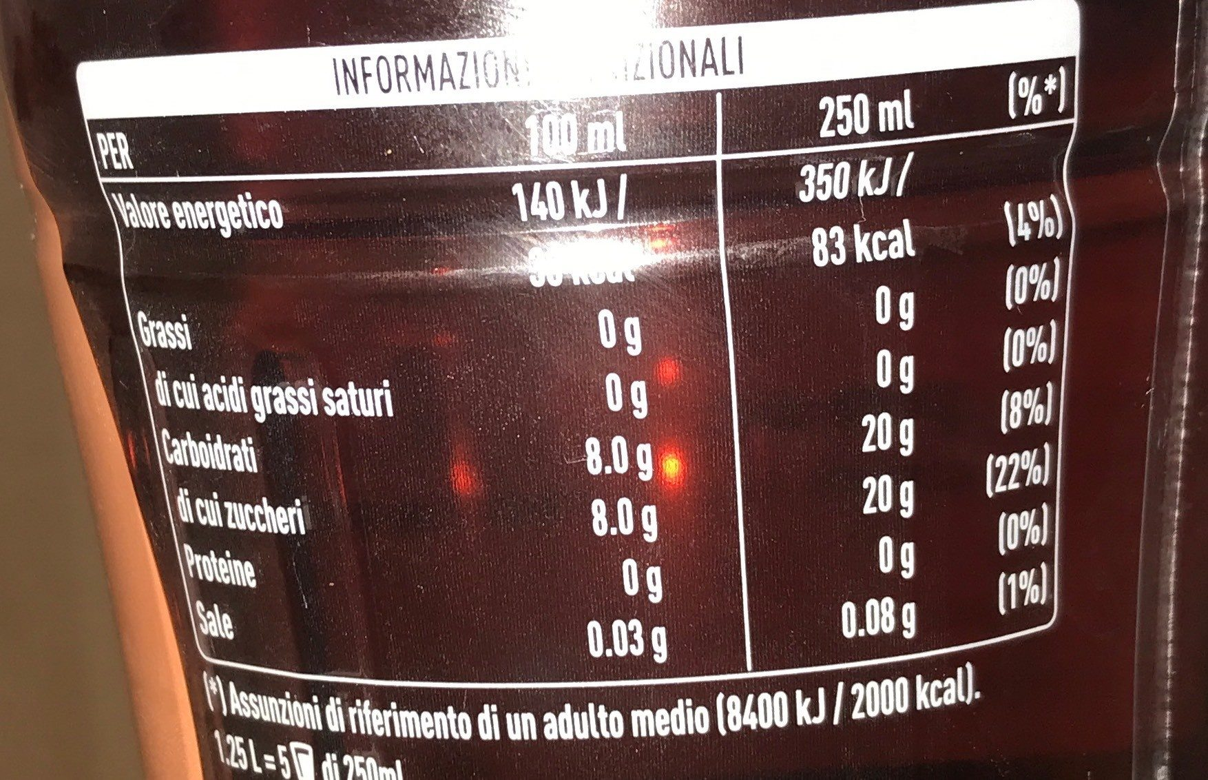 FuzeTea - Nutrition facts