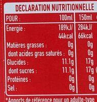 Coca-Cola Mini sans caféine - Valori nutrizionali - fr