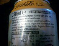 Diet Coke Exotic Mango - Ingrédients