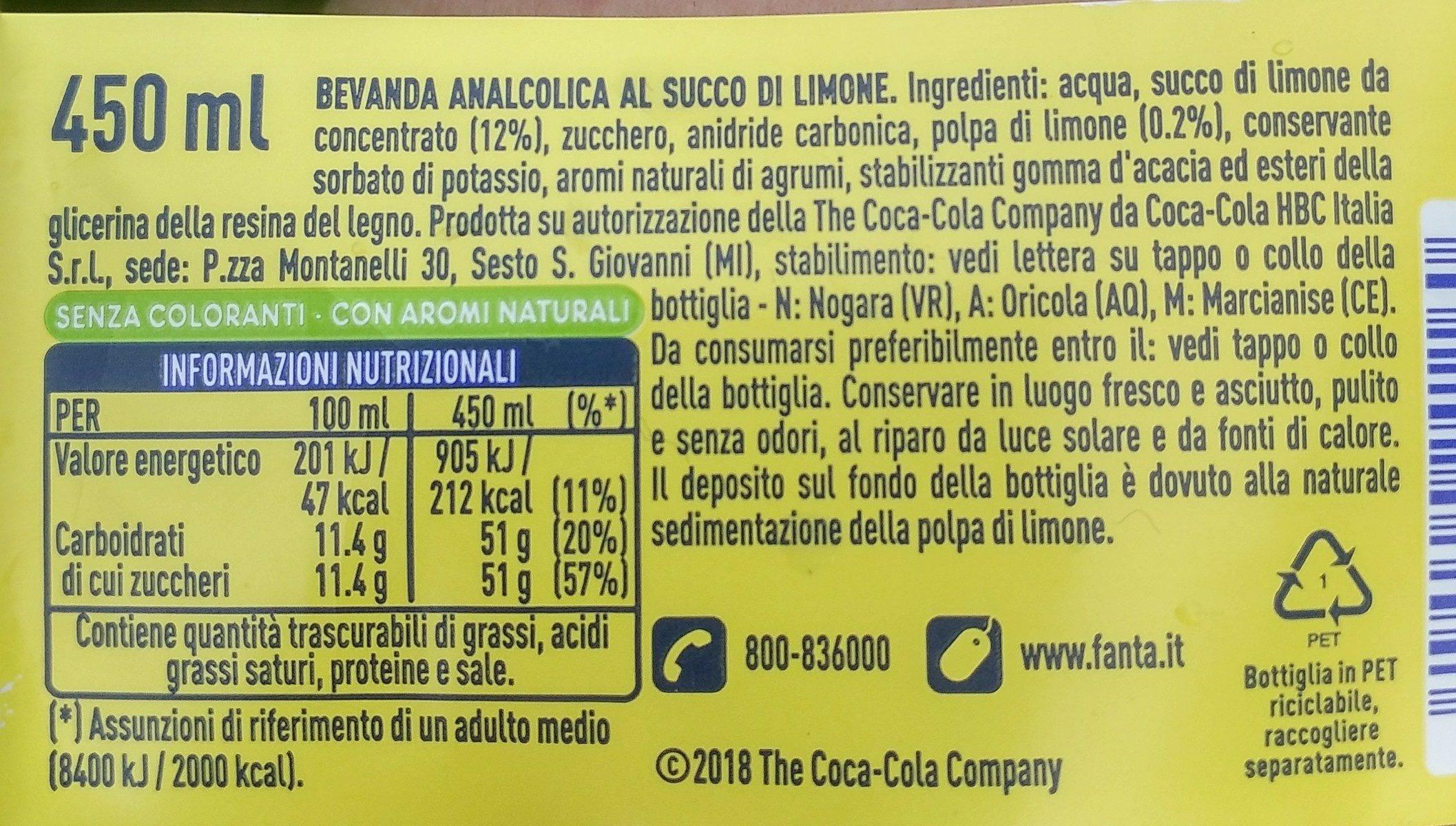 Fanta Lemon - Ingrédients - fr