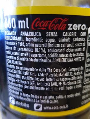coca cola zero gusto limone - Ingredienti - it