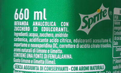 Sprite - Ingredienti