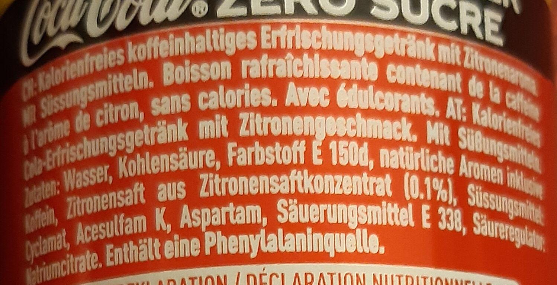 Coca Zero Zucker Lemon - Ingredienti - de