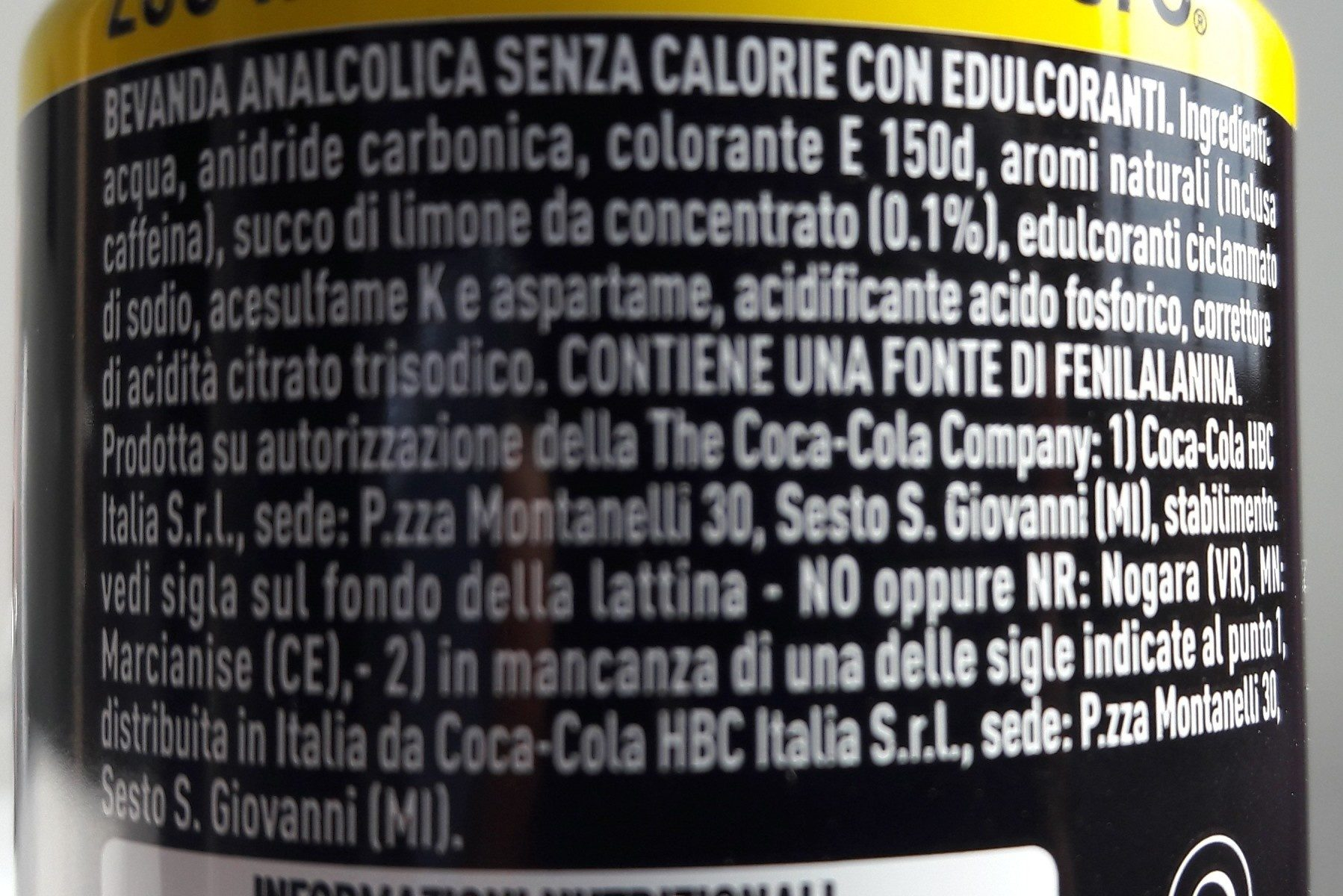 Coca zéro lemon - Ingredienti - de