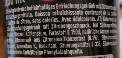 Coca Zero Zucker Lemon - Ingrédients - fr
