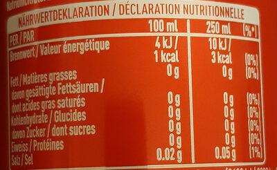 Coca Zero Zucker Lemon - Valori nutrizionali - de
