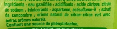 Soda 0% sucre saveur concombre, citron et citron-vert - Ingrédients - fr