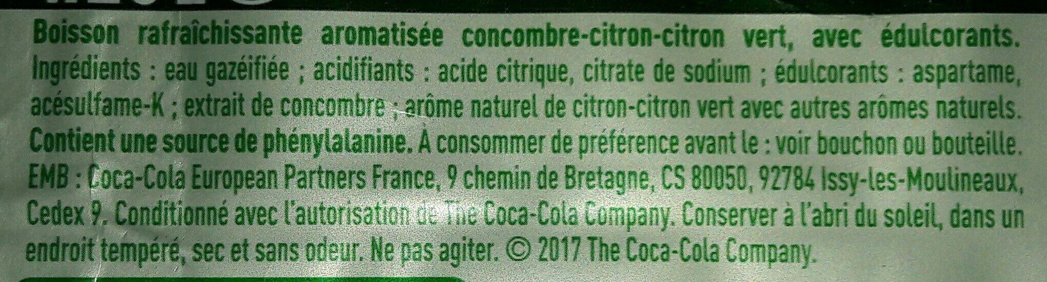 Sprite citron citron vert concombre - Ingredients