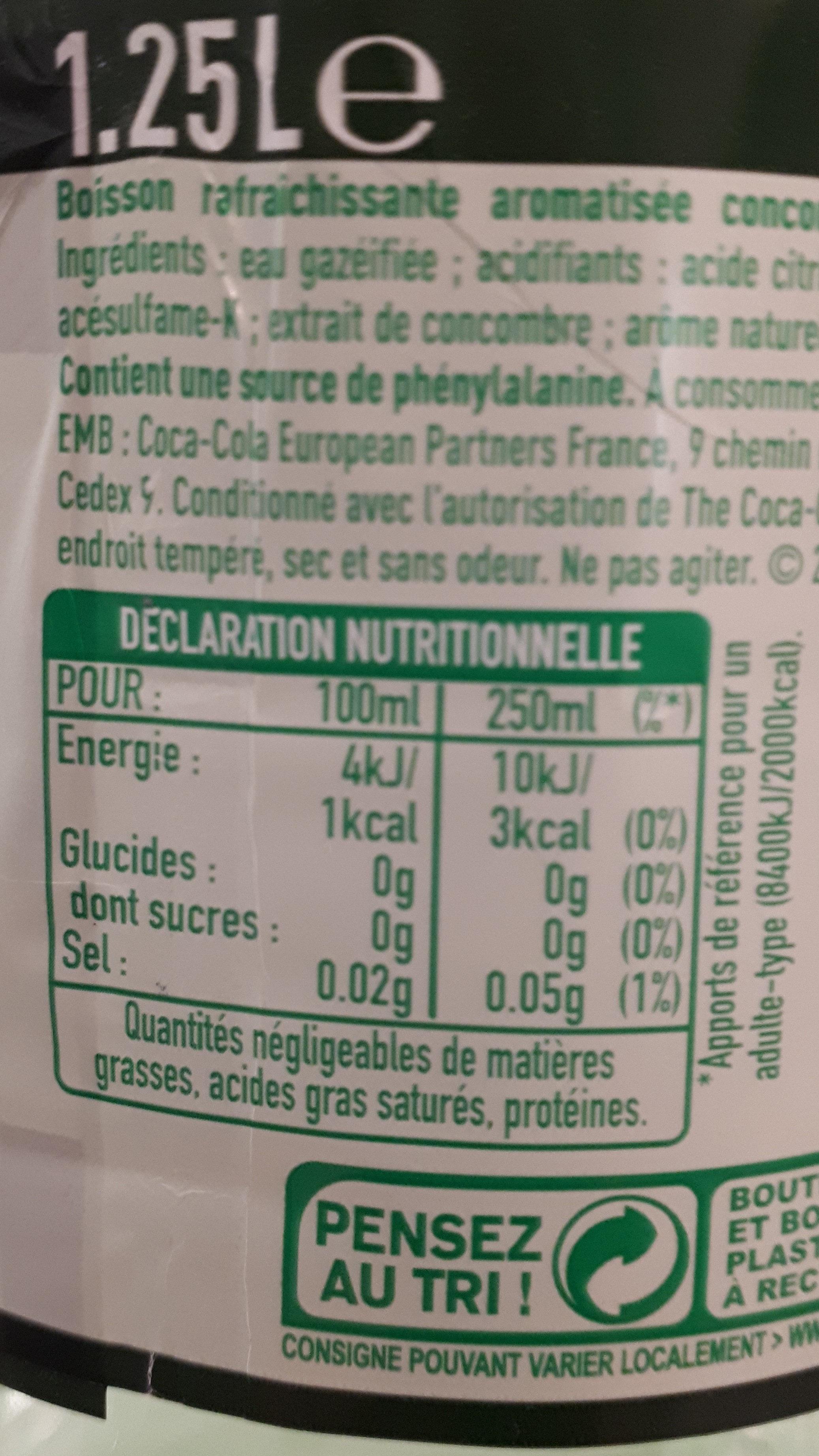 Sprite citron citron vert concombre - Nutrition facts