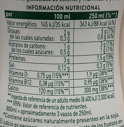 Soja Maravillosa AdeS - Información nutricional - es