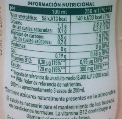 Almendra de Leyenda AdeS - Información nutricional