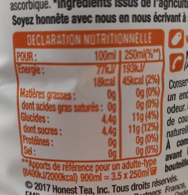 Honest thé glacé bio saveur citron & fleur d'oranger - Nutrition facts - fr