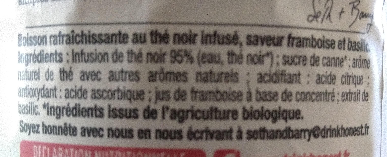 Thé Glacé Bio au Thé Noir Infusé Saveur Framboise & Basilic - Ingrédients - fr