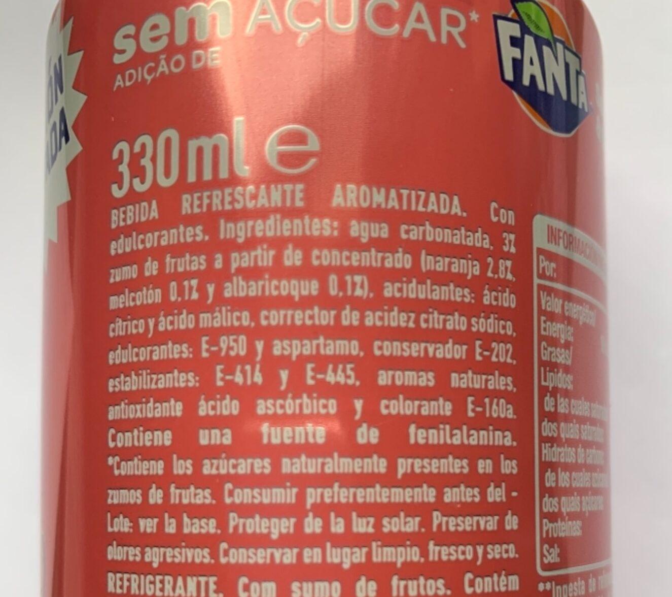 Fanta Melocotón y albaricoque - Ingrediënten - es