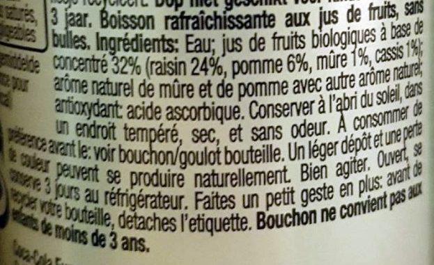 Honest kids bio - Touche de cassis - Ingrediënten - fr