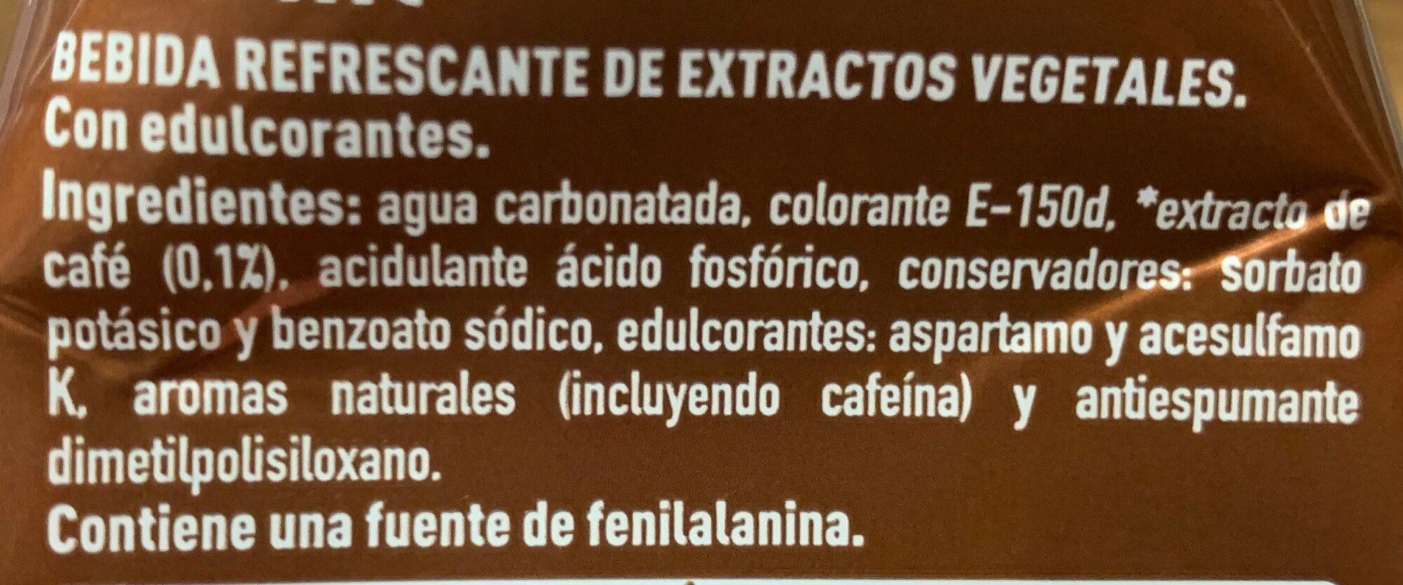 Coca Cola Plus Coffee - Ingredients