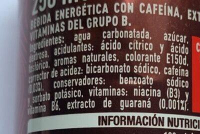 Coca-Cola Energy - Ingredientes - es
