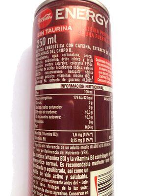 Coca-Cola Energy - Informació nutricional - fr