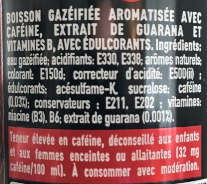Coca cola energy no sugar - Ingrédients - fr