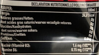 Coca cola energy no sugar - Informations nutritionnelles - fr