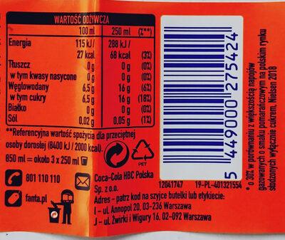 Napój gazowany o smaku pomarańczowym - Wartości odżywcze