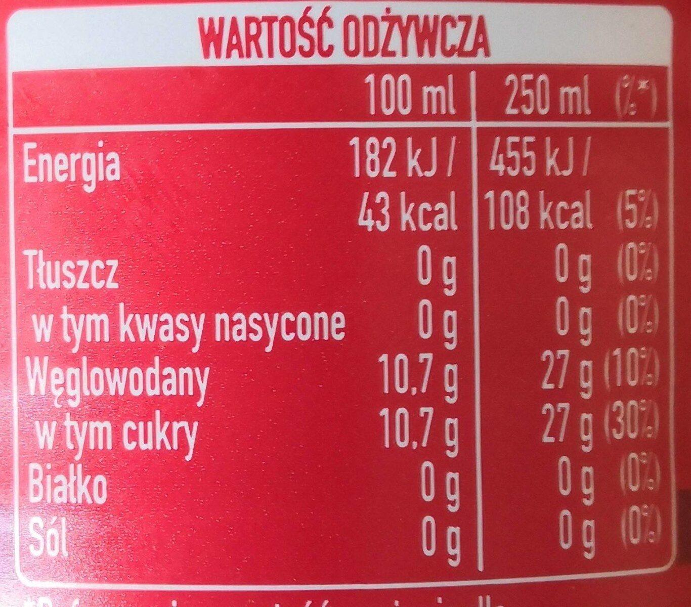 Napój gazowany o smaku cola i wiśniowym. - Wartości odżywcze - pl