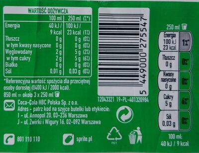 Napój cytrynowo-limonkowy - Wartości odżywcze