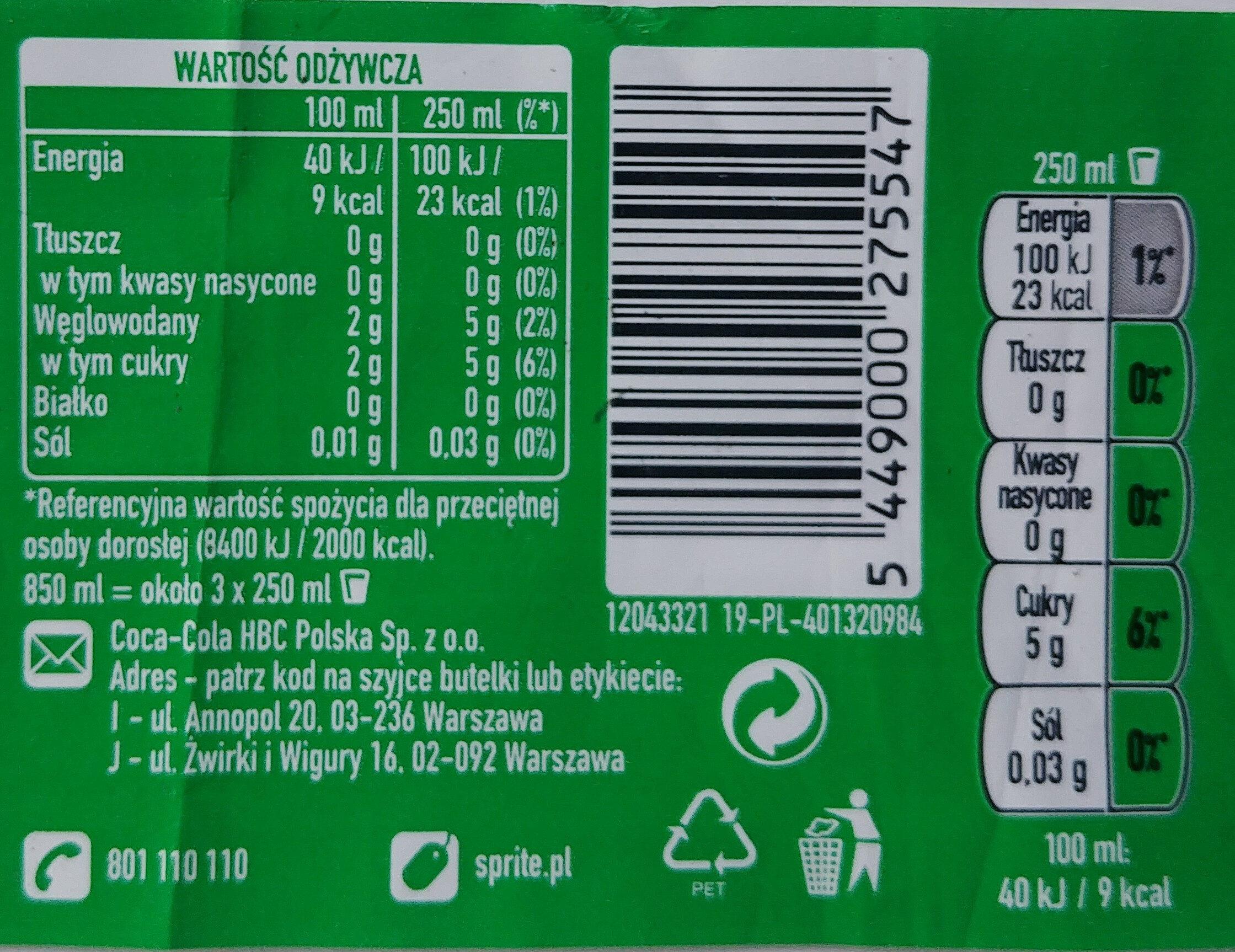 Napój cytrynowo-limonkowy - Wartości odżywcze - pl