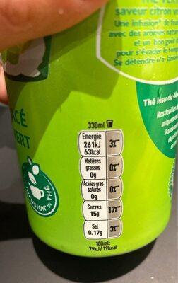Thé citron vert et menthe - Informations nutritionnelles - fr