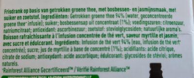 Infused iced tea, green tea, blueberry, jasmine - Ingredients - nl