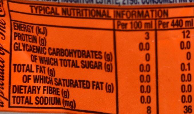Fanta Orange Zero Sugar - Nutrition facts - en